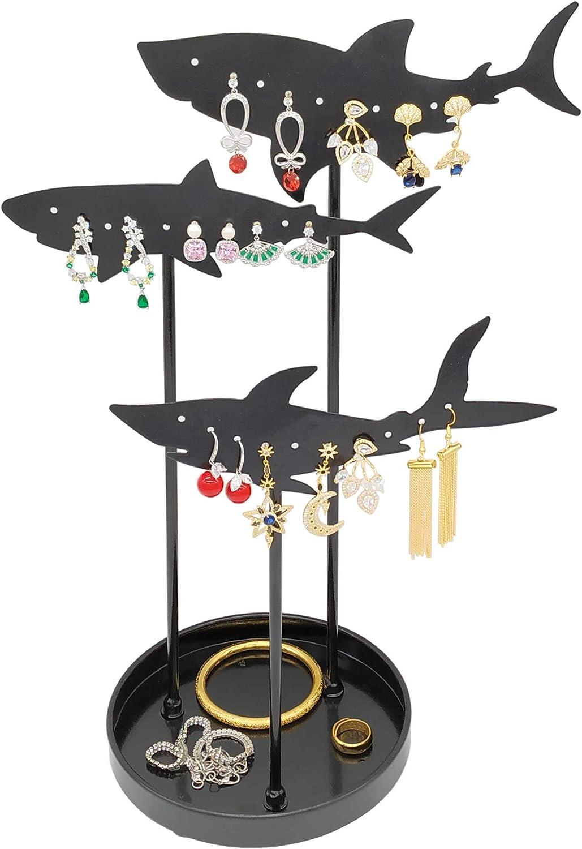 Modern 3 Tier Metal Shark Design Jewelry Tree, Earring Hanger, Necklace Organizer, Bracelet Storage Display Stand & Tray – Black