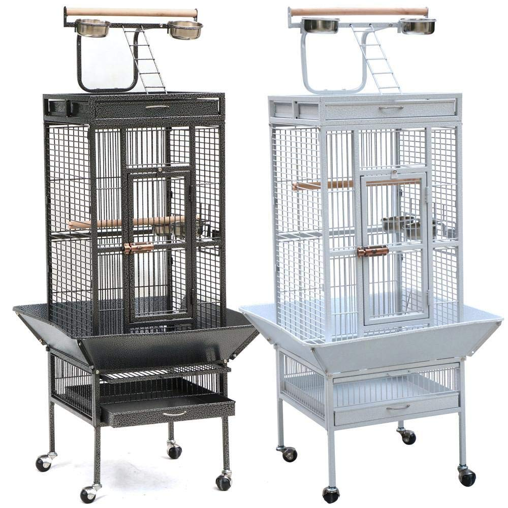 Yaheetech Wrought Iron Parrot Bird Cage Playtop Cockatiel Cockatoo Birdcages (61''(Black))
