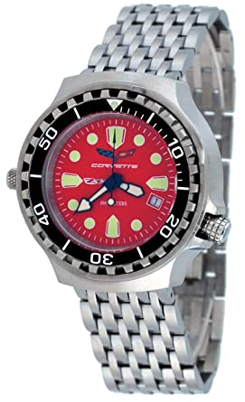 Corvette CR285RD Mens Z06 Collection Stainless Steel Red Dial Swiss Dive Watch