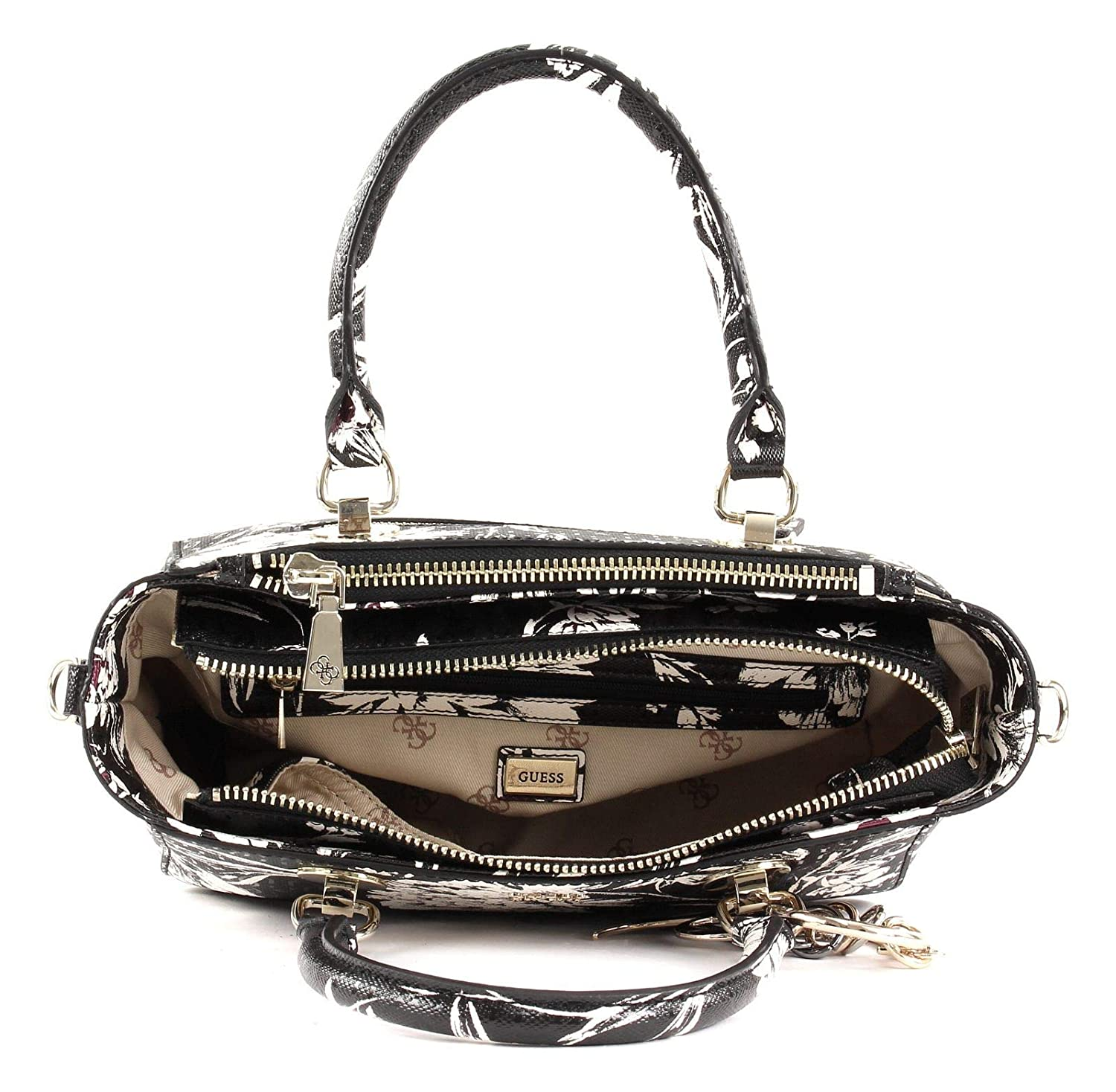 GUESS Tamra Small Society Satchel Black Floral: Amazon.co.uk
