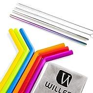 Reusable Silicone Straws | Extra Long Flexible Straws | BPA Free 6 Reusable Drinking Straws for 30 oz Tumbler Yeti/Rtic/Ozark +2 Extra Long Brushes +2 Metal Straws + 1 Storage Pouch