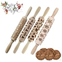 Christmas Rolling Pin Embossing Rrolling Pin Embossed Patterned Textured Wooden Rolling Pin Xmas Decorative Baking Equipment