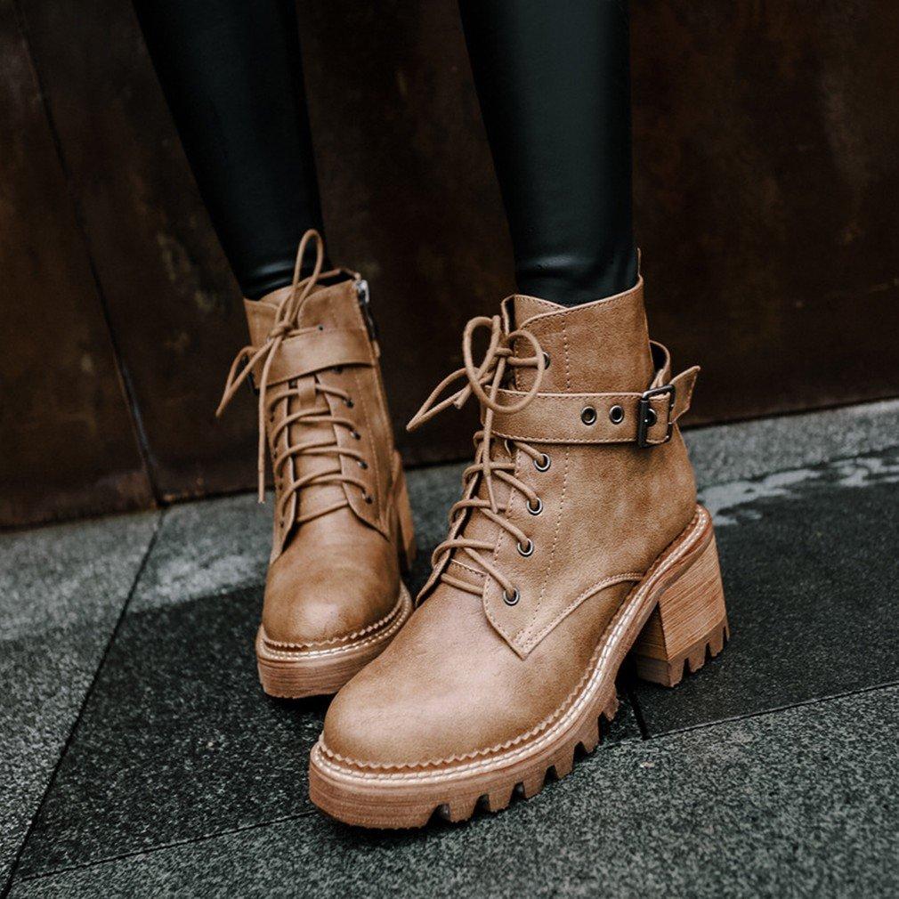 ZH Zapatos de Mujer Otoño E Invierno Más Cachemira Martin Botas Botas de Agua Impermeables Botas de Encaje con Botas Gruesas,Segundo,36 36