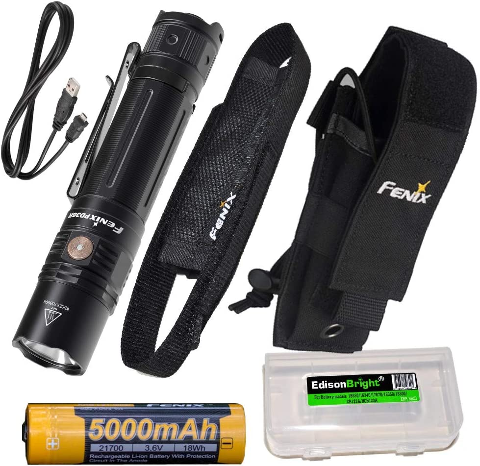Fenix PD36R 1600 Lumen USB Rechargeable CREE LED Tactical Flashlight, ALP-MT Holster with EdisonBright Charging Cable Carry case Bundle