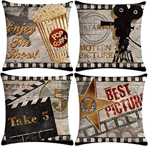 7COLORROOM 7ColorRoomVintage Cinema Pillow Covers Movie Theater Poster with Popcorn,Projector,Clapboard,Star Pattern Home Decor Couch Pillow Case 18 X 18 Inch Set of 4 (Movie 4P)