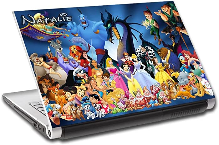 Disney Characters Personalized LAPTOP Skin Vinyl Decal Sticker WITH NAME L64-17""