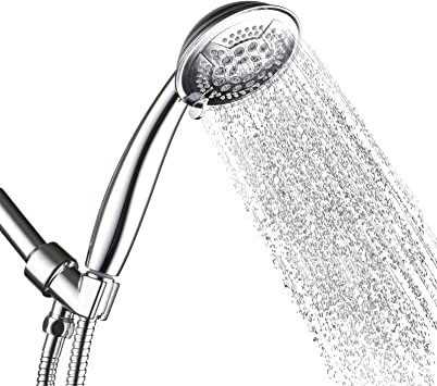 5 Sprays Shower Base Head Hand Held High-Pressure Bathroom Set+1.5m Hose+Holder