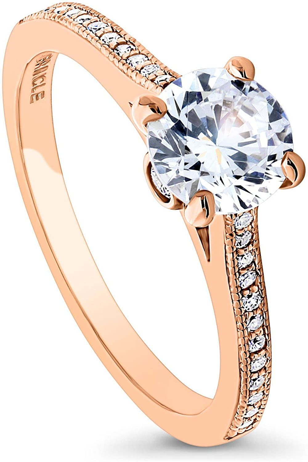 BERRICLE Rose Gold Plated Sterling Silver Round Cubic Zirconia CZ Solitaire Promise Engagement Ring 1.18 CTW