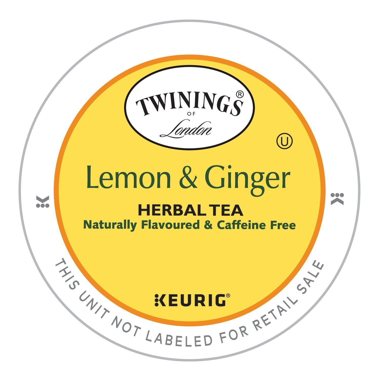 Twinings Lemon and Ginger Herbal Tea, Keurig K-Cups, 48 Count