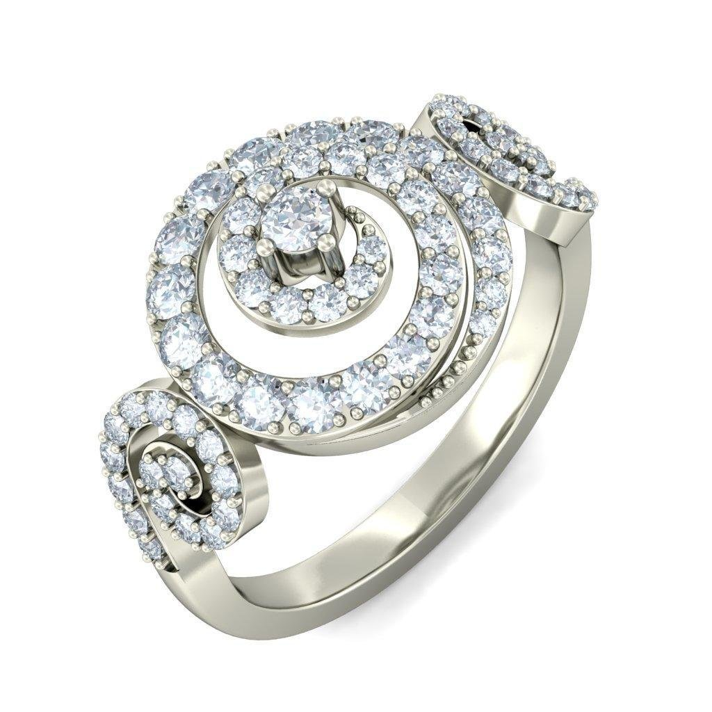 14K White Gold (HallMarked), 0.93 cttw Round-Cut Diamond (IJ | SI ) Cocktail Diamond Engagement Wedding Ring Size - 11