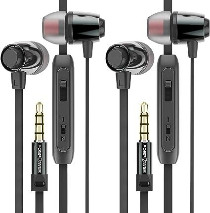 FosPower Auriculares intrauditivos (2 Pack), Auriculares sin enredos, Auriculares aislantes de Ruido con micrófono y Control de Audio, Conector TRRS de 3,5 mm: Amazon.es: Electrónica