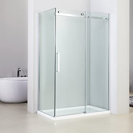 marinelligroup – Box ducha angular 80 x 100 con puerta corredera de cristal cristal 8 mm. Mimosa: Amazon.es: Hogar