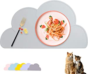 UIBYRIU Dog Cat Pet Silicone Feeding Tray Mats Waterproof Easy Clean Non Slip Cute Cloud-Shaped Silicone Pet Placemat to Stop Food Spills and Water Bowl Messes on Floor(Light Grey)