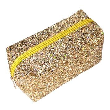 e374ba3483 Amazon.com   Glitter Makeup Bag Organizer Portable Cosmetic Pouch Travel  Brush Holder Handbag with Gold Zipper Pencil Storage Case for Women Purse  (Glitte ...