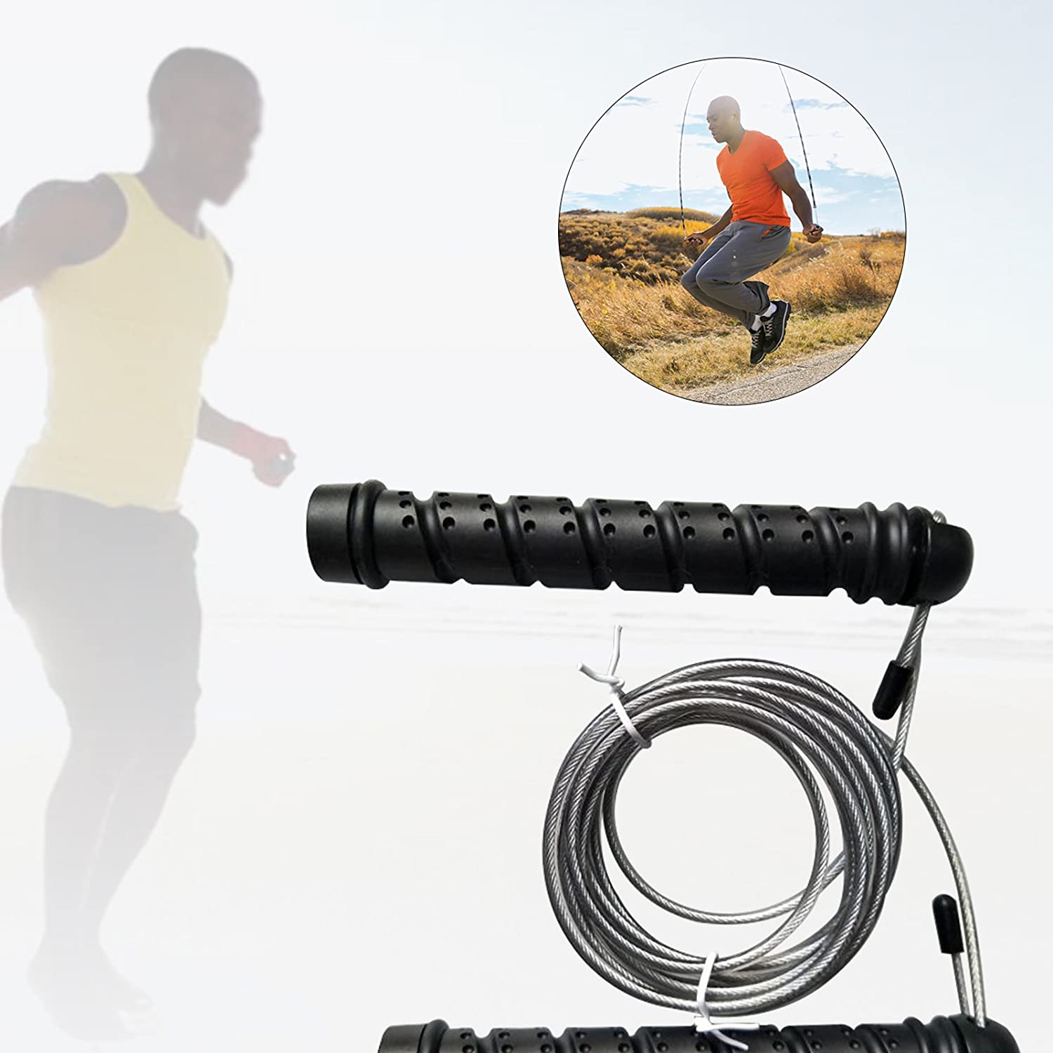 2.5M 8Ft Fully Adjustable Skipping Rope Jump Speed Sport Cable Exercise Fat Burning Jumping Rope Boxing Gym Fitness Workout Steel Wire