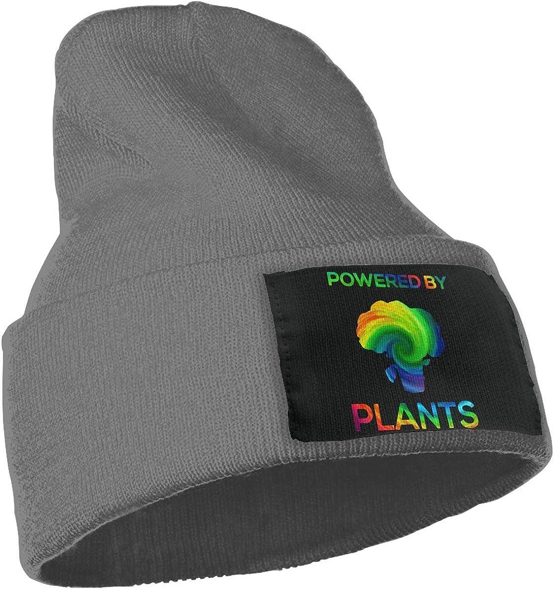 SLADDD1 Powered by Plants Vegan 3D Printing Warm Winter Hat Knit Beanie Skull Cap Cuff Beanie Hat Winter Hats for Men /& Women