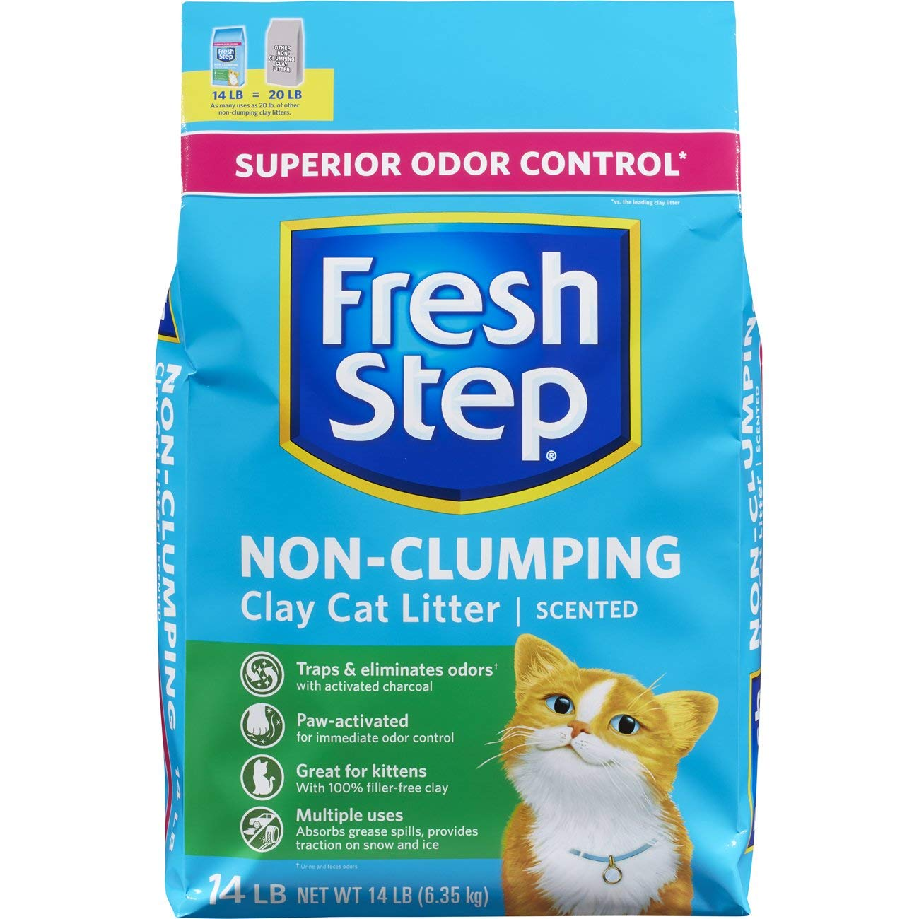 Fresh Step Scented Non-Clumping Clay Cat Litter, 14 Pounds (Pack of 3) by Fresh Step