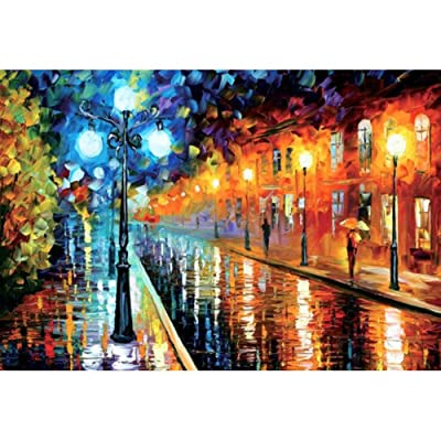 Fairylove 1000 Pieces Puzzles Wooden Jigsaw Puzzles Floor Puzzle Intellectual Game Learning Education Decompression Toys for Adults Kids - Rain Night: Toys & Games