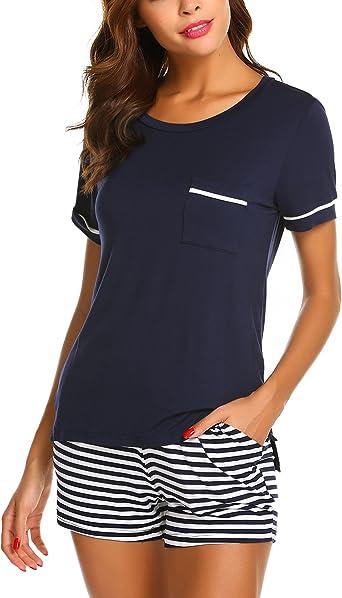 UNibelle Pyjama Shorty pour Femme avec Shorty et t-Shirt de Nuit /à Manches Courtes avec Poches