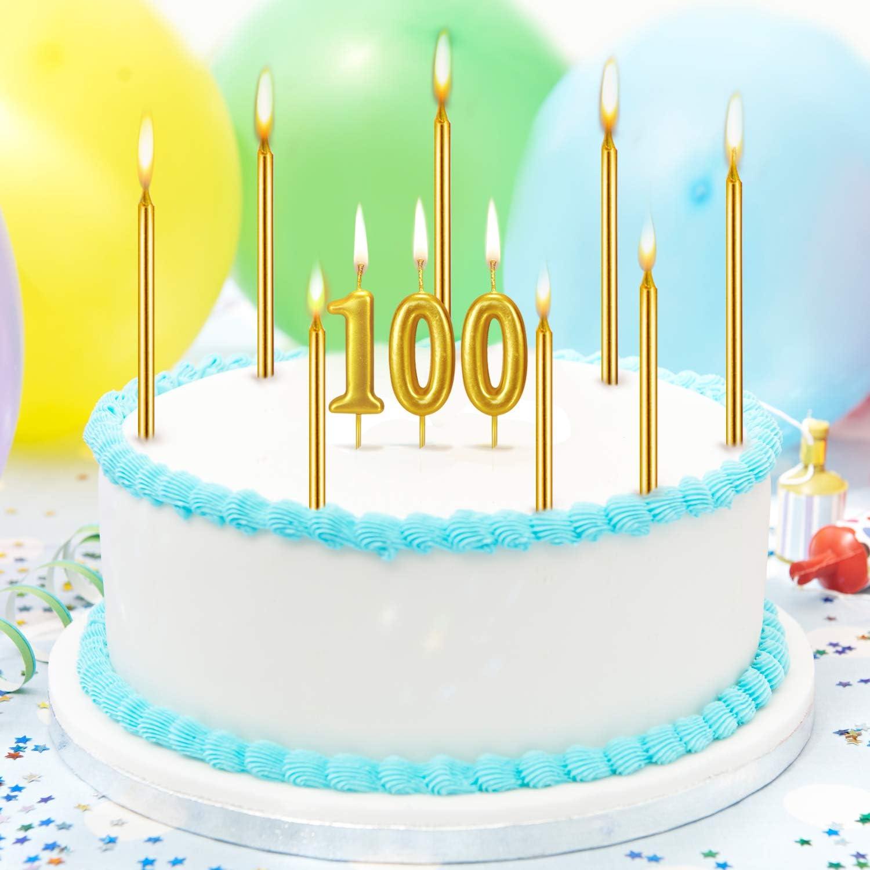 N/úmero 0 Conjunto de 21 Velas de Tarta de Feliz Cumplea/ños Incluye Vela de N/úmero Met/álicas 20 Velas de Cumplea/ños Largas Doradas para Boda Cumplea/ños Aniversario
