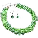 Jerollin collana da donna, parure con girocollo e orecchini con perle grandi e piccole, multicolore
