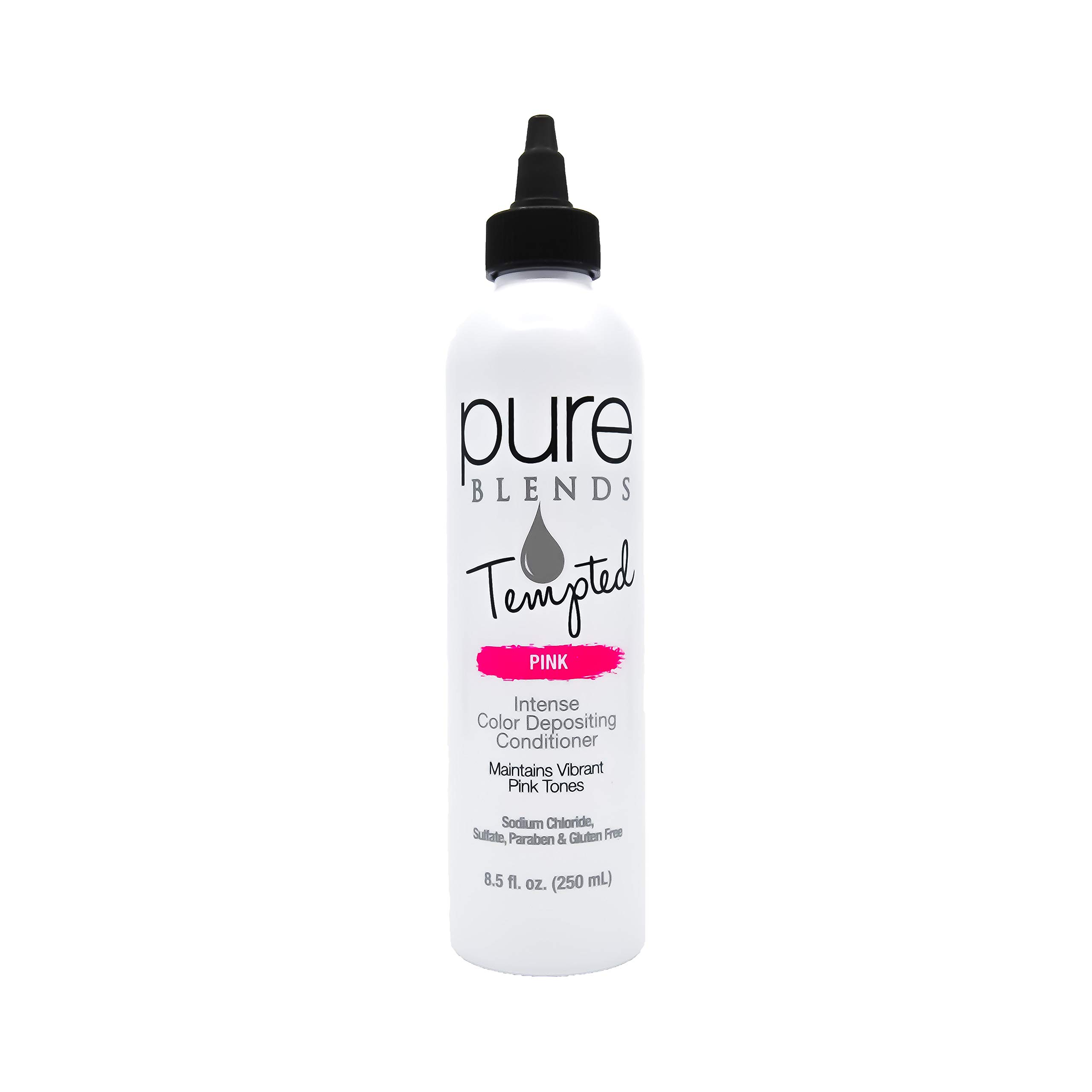 Pure Blends Tempted Intense Color Depositing Conditioner - Pink (Vibrant Pink Tones) 8.5 Ounce - Salon Quality by Pure Blends