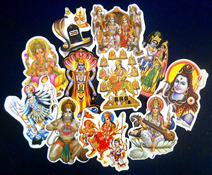 India Crafts Wholesale lot of 10 Small Hindu Gods Stickers (Size - 4