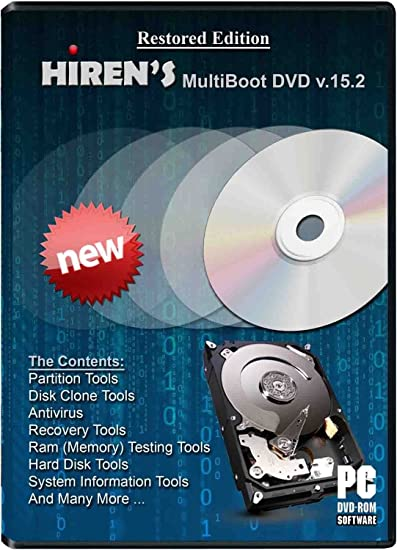 Hiren Boot cd RECOVERY PC REPAIR DVD Disc Virus Removal