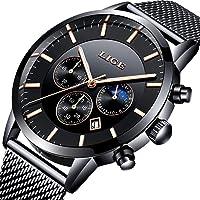 LIGE Uhr-Herren,Mode Chronographen,Edelstahl Wasserdich, Schwarze Quartz Milanaise Mesh Armband
