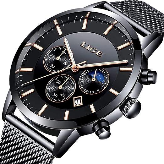 LIGE Relojes Hombre Moda Impermeable Analógico Cuarzo Reloje Negro Acero Inoxidable Malla: Amazon.es: Relojes