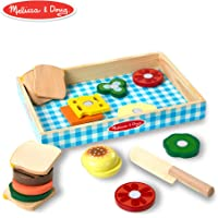Melissa & Doug Sandwich-Making Set (Wooden Play Food, Wooden Storage Tray,, 16 Pieces)