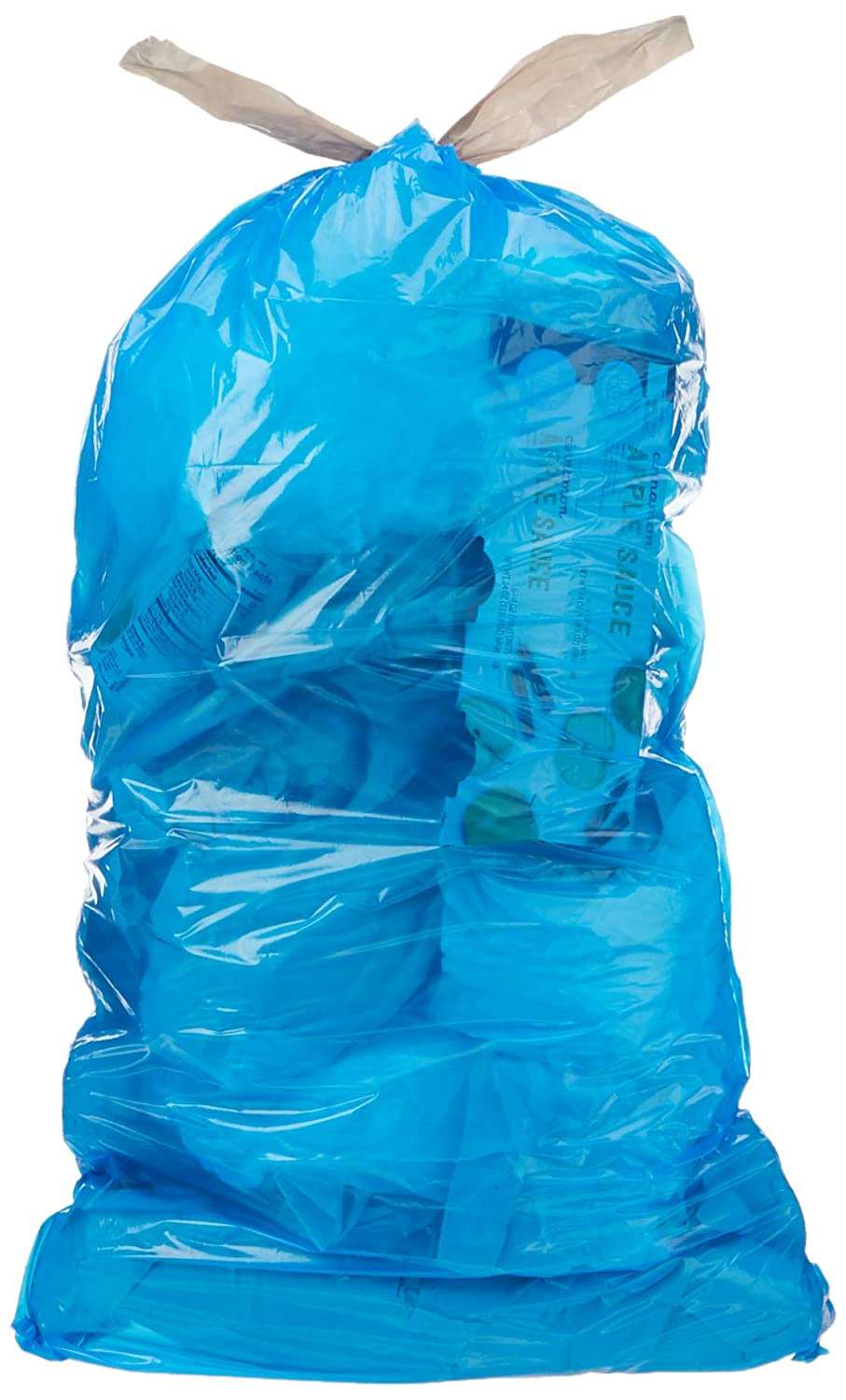 AmazonCommercial 13 Gallon Blue Recycling Bags /w Drawstrings - 0.7 MIL - 45 Count