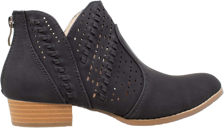 Sobeyo Western Bottines Talon Bloc Découpe Perforé Femmes Fashion Chaussures