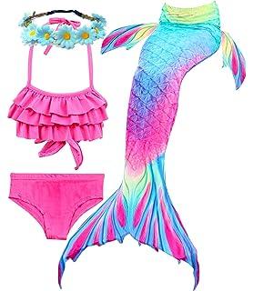 aaef87f05bbc6 Camlinbo 3Pcs Mermaid Tail for Girls Swimming Swimsuits Princess Bikini Set  for Toddler Big Girls Birthday