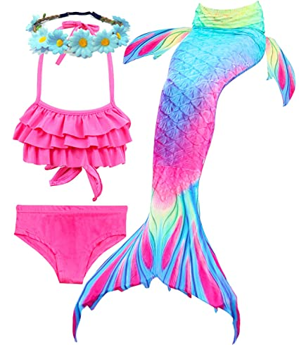 826866b5c2487 Camlinbo 3PCS Mermaid Tail for Girls Swimsuit Swimming Tropical Bikini  Christams Pool Party Swimsuit (Child