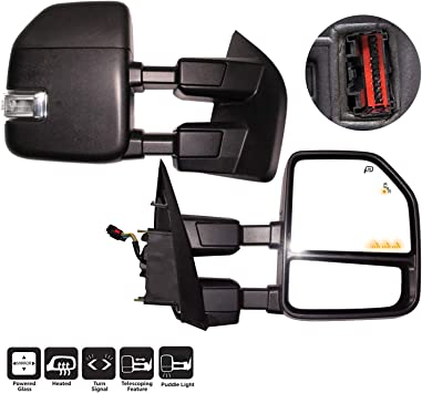 Clearance and Auxiliary Lamp Puddle AERDM New towing mirror Black Housing with Temperature sensor fit Ford Super Duty F-250 F-350 F-450 F-550 2017 2018 2019 w//Blind Spot with arrow Lamp,Turn Signal