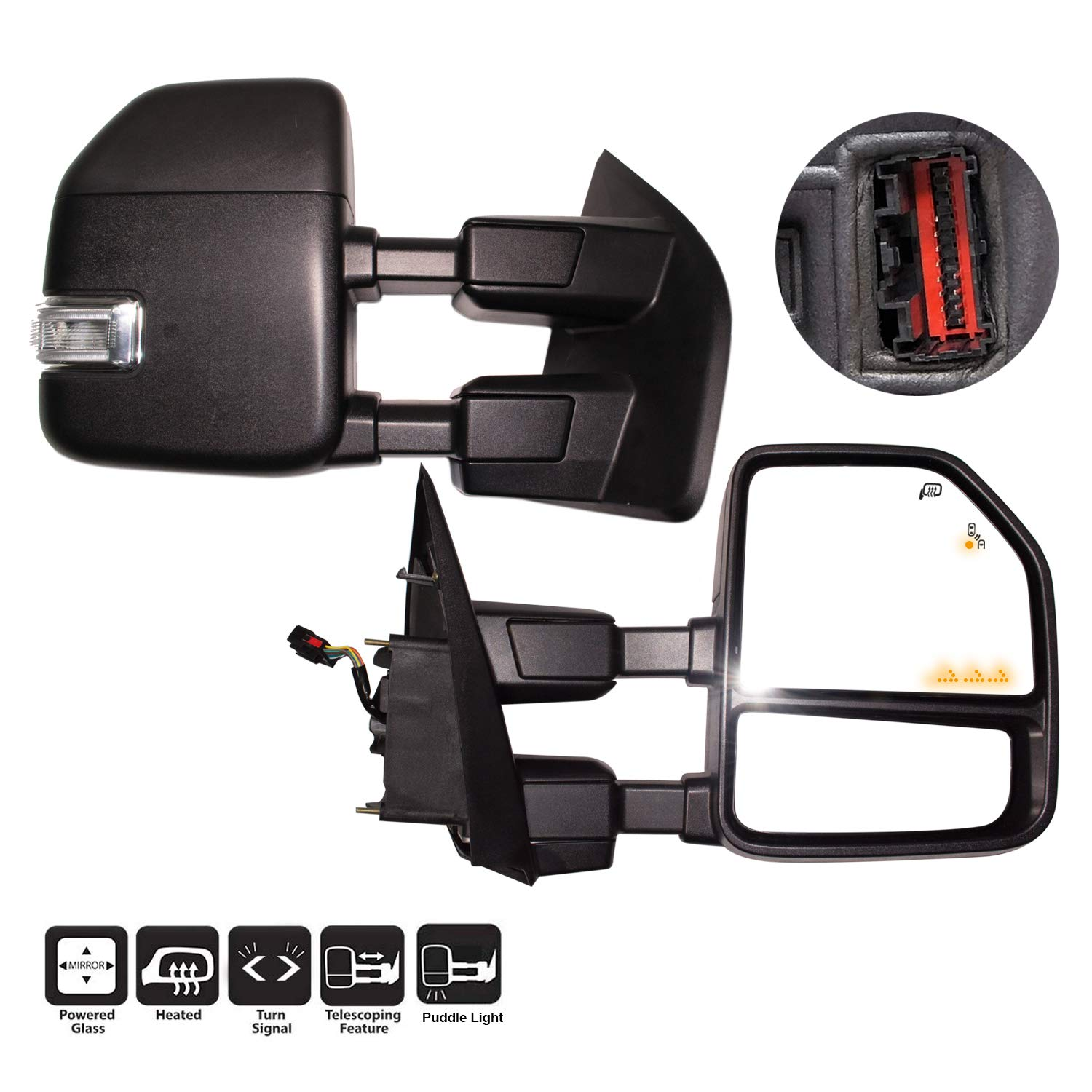 AERDM New Power Heated Towing Mirrors with Power//Heated//Auxiliary Lights//Puddle Lights//Temperature sensor//Linear arrow light for Ford Super Duty F-250 F-350 F-450 F-550 2017 2018 2019 w//Blind Spot