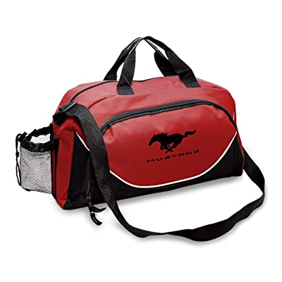 CarBeyondStore - Ford Mustang Large Travel Carry on Duffel Bag (Red/Black): Automotive