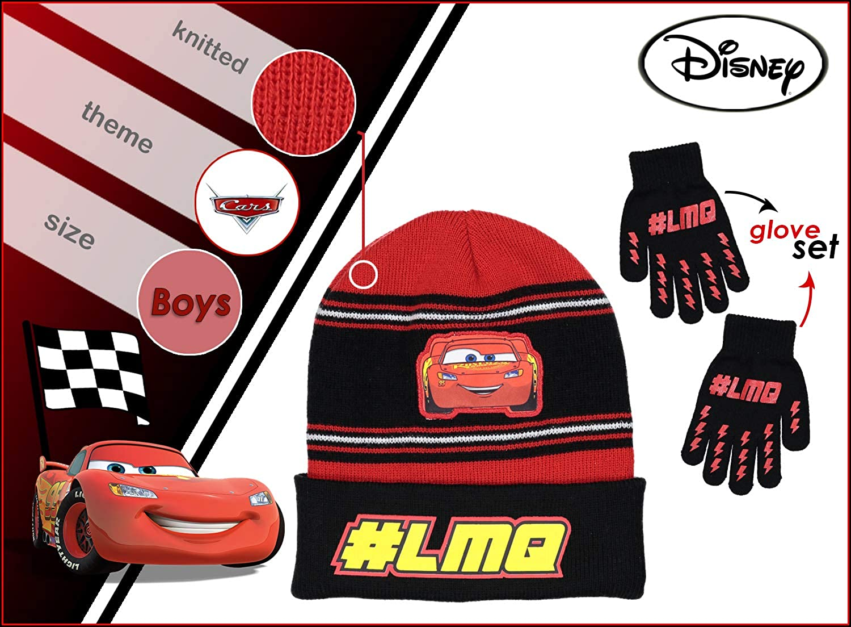 Disney Boys Cars Lightning McQueen Hat and Glove//Mitten Set 4014 Sizes Toddler//Boys