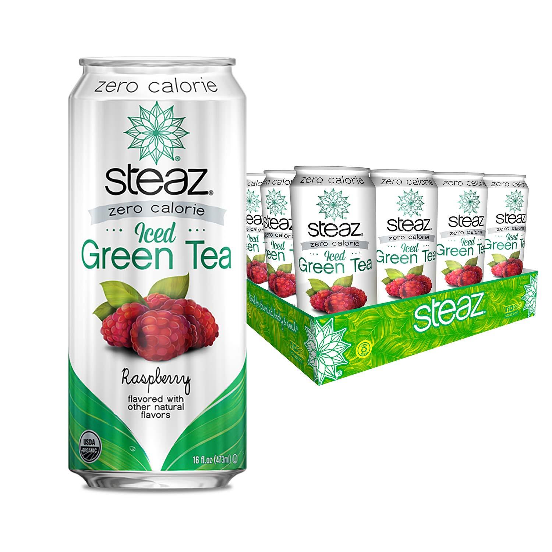 Steaz Zero Raspberry Iced Tea - 16 oz - 12 ct