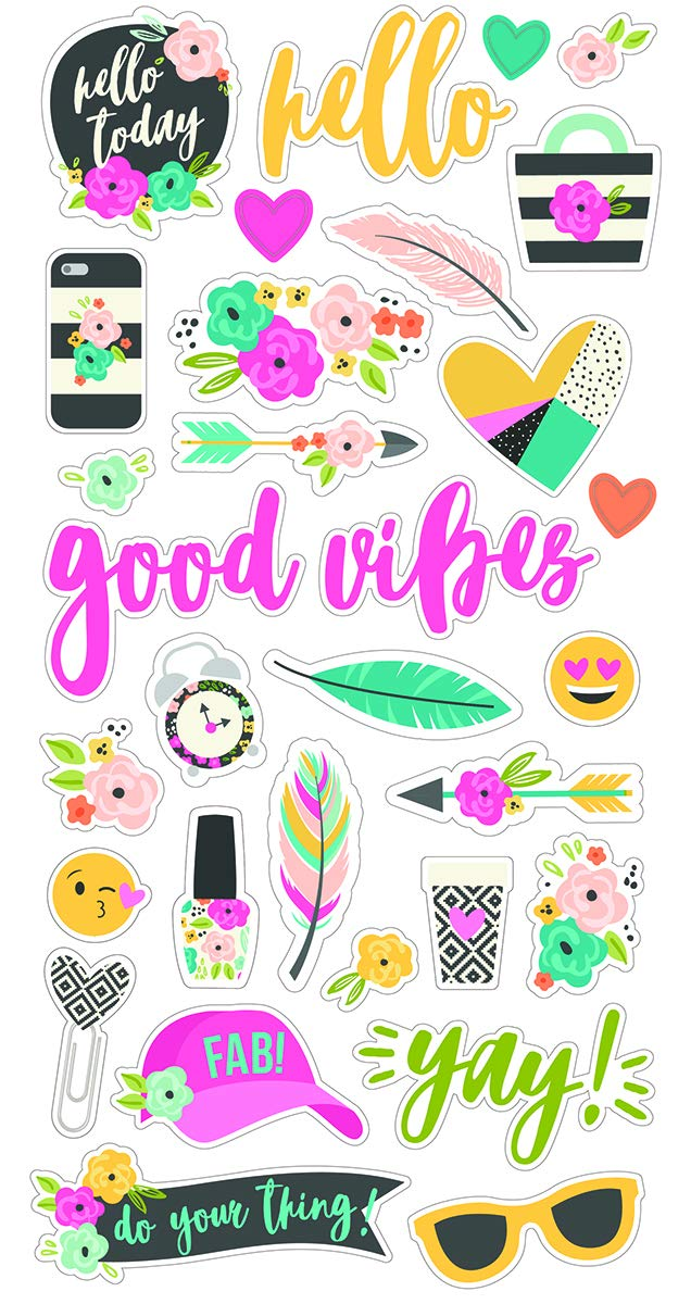 Simple Stories Good Vibes Chipboard, Multi-Colour, Medium, 6 x 12-Inch SI10089