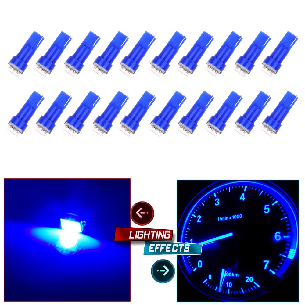 cciyu 20x Blue T5 Blue Dashboard Instrument Panel Instrument Speedometer Gauge Cluster 37 73 74 79 17 57 5050 1-SMD LED Light Bulb 12V (blue)