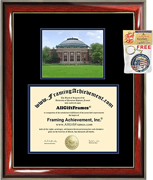 University of Illinois Urbana Champaign Diploma Frame campus photo College Gift