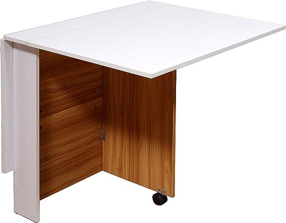 Tavolo Da Pranzo Pieghevole.Homcom Tavolo Da Pranzo Design Moderno Pieghevole Con Ruote 120 80 73cm Amazon It Casa E Cucina