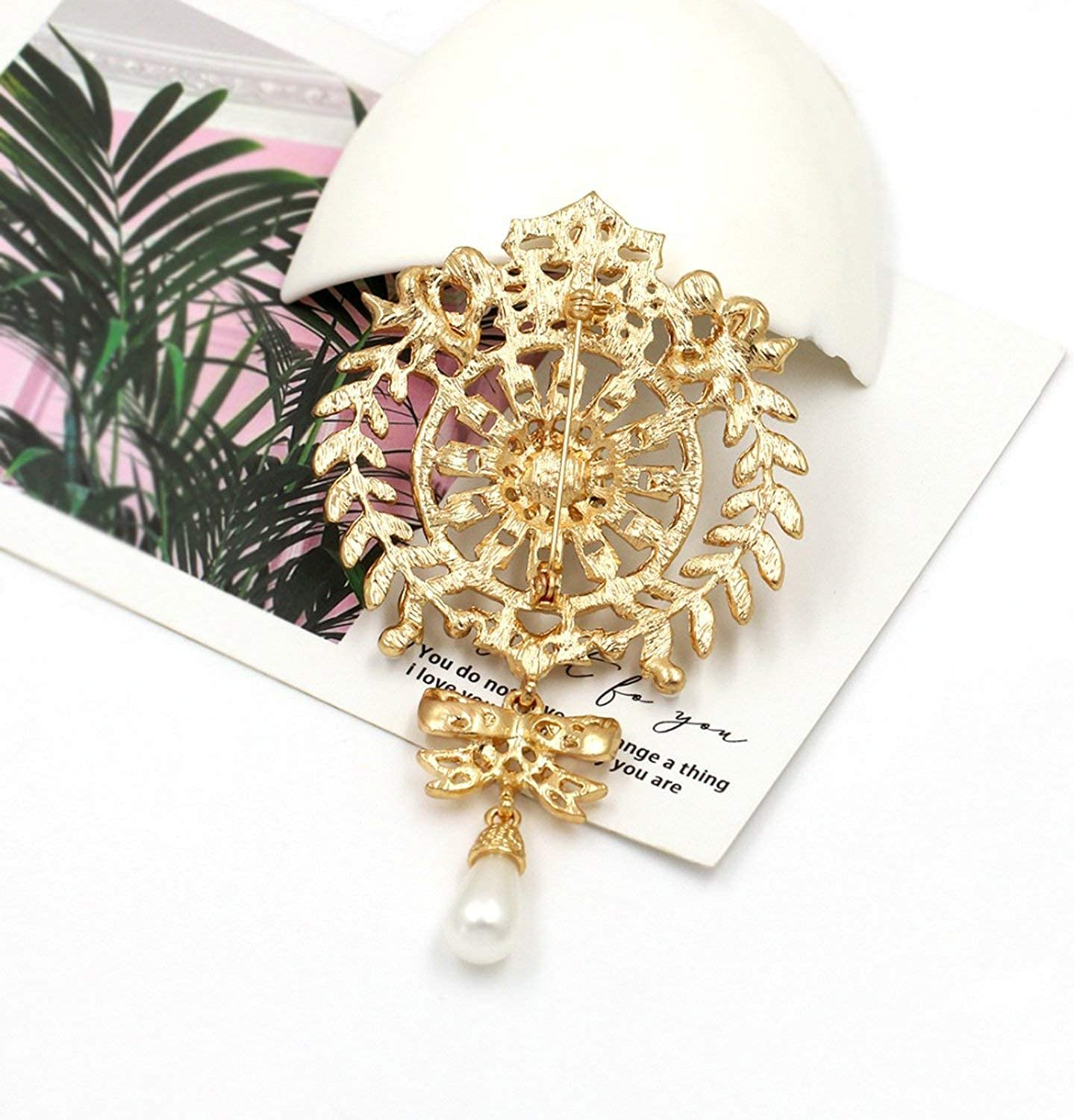 Large Size Silver//Gold Color Plated Clear Crystal Rhinestones Bow Drop Brooch Pins Jewelry Gifts for Women