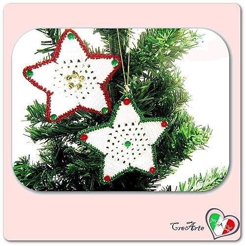 Set 2 Stelle Verdi E Rosse Da Appendere Allalbero Di Natale All