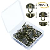 Aneco 20 Sets Antique Latch Hook Hasp Wood Jewelry Box Hasp Catch Decoration with Replacement Screws, Bronze Tone