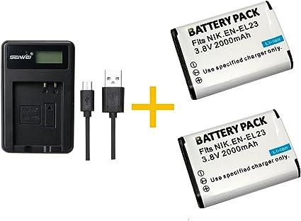 2 Pieza 2000 mAh EN-EL23 ENEL23 Batería con Cargador de batería ...