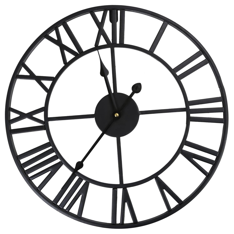 wivarra Large Roman Numeral Clock Metal Wall Clock for Home Hotel Bar Office (Diameter: 40cm)