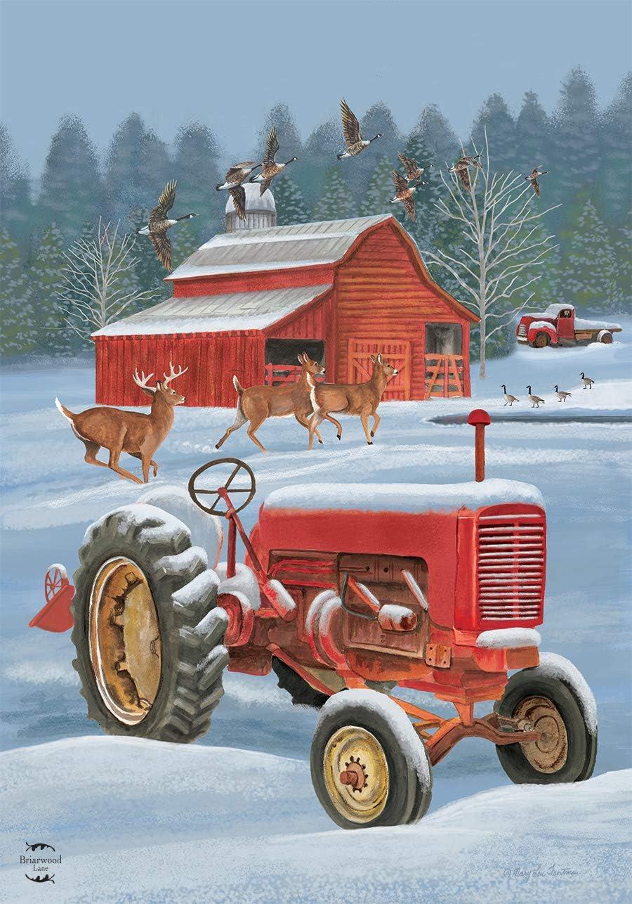 "Briarwood Lane Winter On The Farm Garden Flag Tractor Barn Deer Geese 12.5""x18"""